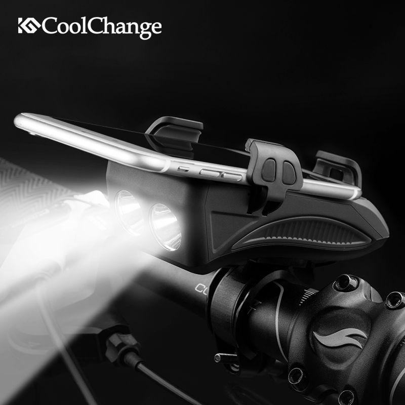 CoolChange Bike Light USB Rechargeable Flashlight Phone Holder Bicycle Highlight 2000/4000mAh Power Bank Cycling Horn Led Light