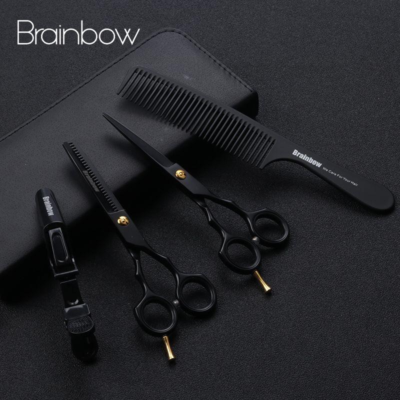 Brainbow 5.5 'professionnel noir japon ciseaux à cheveux coupe amincissant coiffure ciseaux de coiffeur Salon de coiffure outils de coiffure