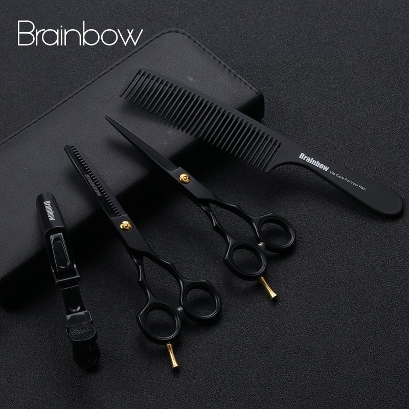 Brainbow 5.5' Professional Black Japan Hair Scissors Cutting Thinning Hairdressing Barber Scissors Salon Haircut Styling Tools