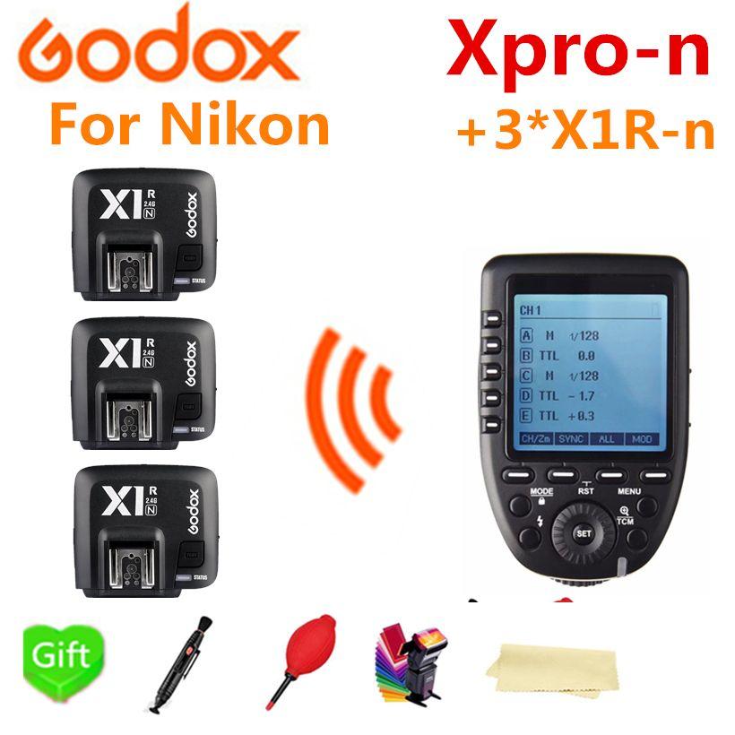 Godox Xpro-N Wireless TTL HSS Trigger Transmitter For Nikon + 3* X1R-N for Godox V860IIN TT685N TT350N TT600 SK400II AD600Pro