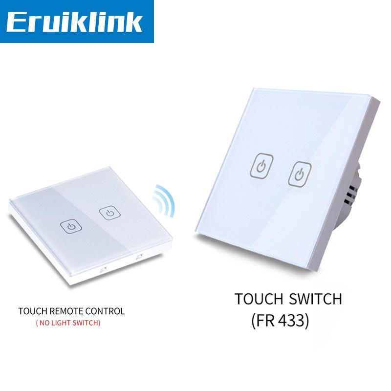 EU/UK Standard Wall Touch Switch,1/2/3 gang 2 way Glass Panel light remote control switches+LED Indicator RF433 Smart home