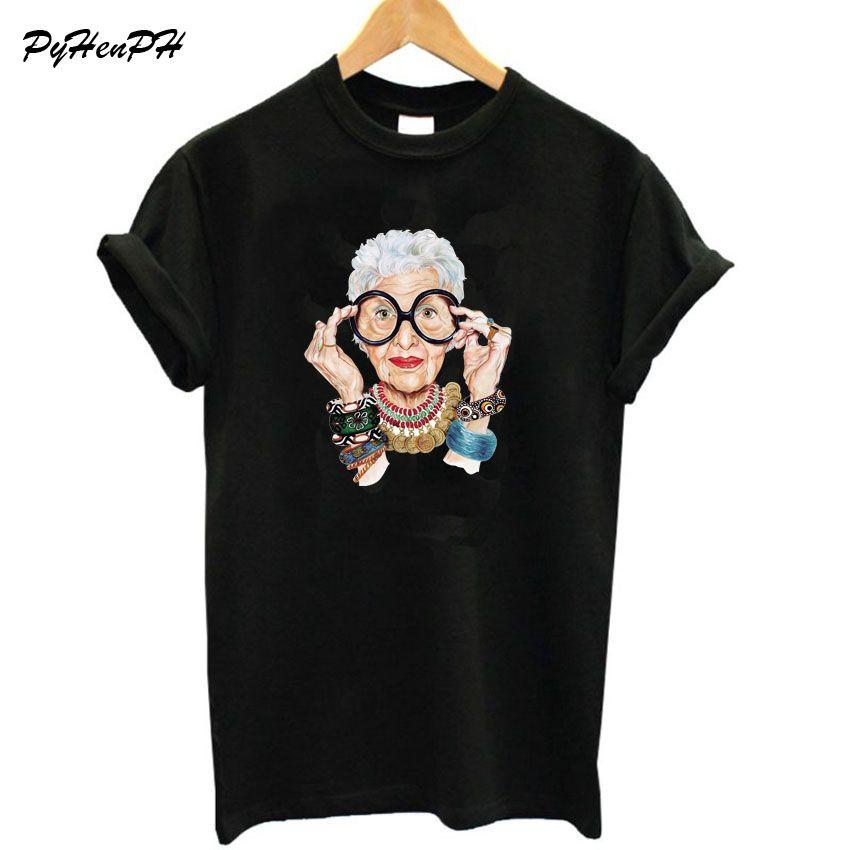 New 2018 Summer Tumblr Fashion Old Women Print T Shirt Women Cotton O-neck Short Sleeve Tops For Women Kawaii Tshirt