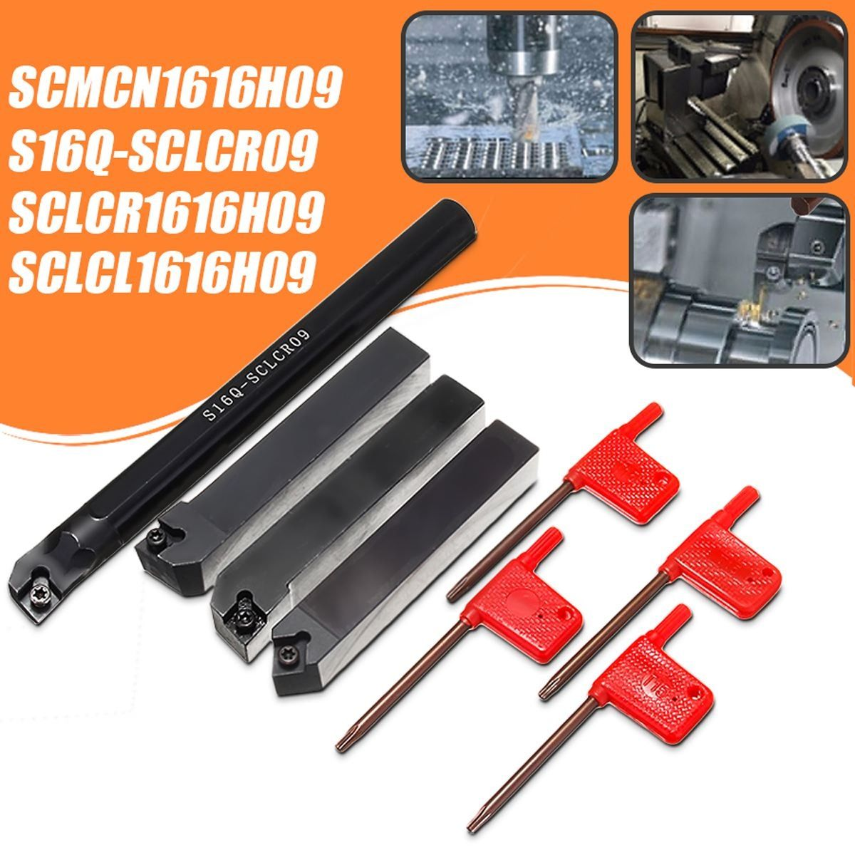 4 Satz 16mm SCLCR Drehmaschine Drehen Werkzeughalter Bohrstange + 4 stücke T15 Schraubenschlüssel S16Q-SCLCR09/SCLCR1616H09/SCLCL1616H09/SCMCN1616H09
