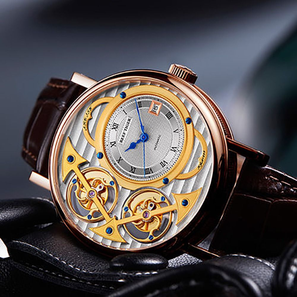 Reef Tiger/RT Top Luxury Fashion Watches Men Rose Gold Leather Strap Skeleton Automatic Watches RGA1995 Non-moving Tourbillon