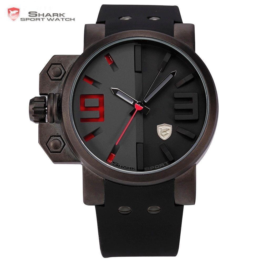 Salmon SHARK Sport Watch Luxury Brand 3D Red Dial <font><b>Analog</b></font> Silicone Band Mens Army Military Quartz Clock Relogio Masculino /SH172
