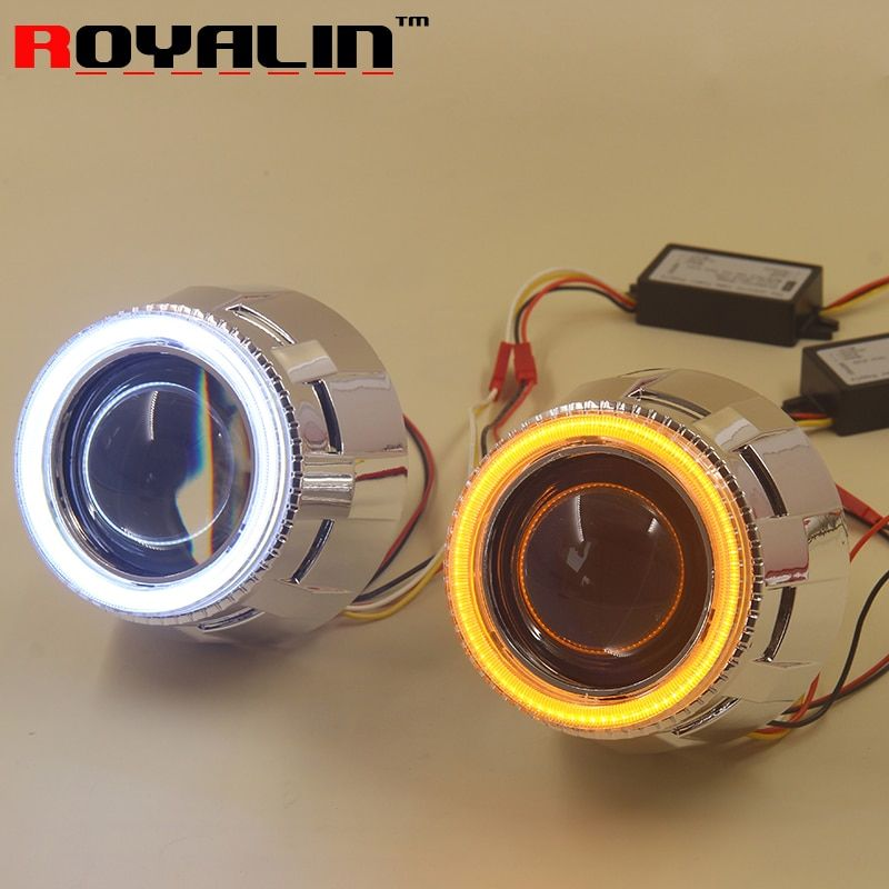 ROYALIN Auto Headlight Projector H1 Bi Xenon Lens LED COB Angel Eyes Dual Color Turn Signal DRL for H4 H7 Car Lights Retrofit