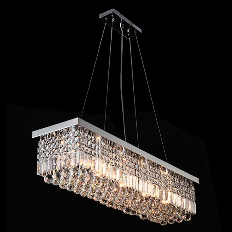 Rectangle LED Crystal Pendant Light Modern Hanging Lamps Fixtures for Dining Room VALLKIN LIGHTING