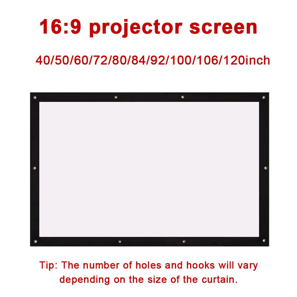 Cewaal portable 16:9 Folded Outdoor Projector Screen Durable Gaming Home Theater Projection Movie Hanging Hole Screen