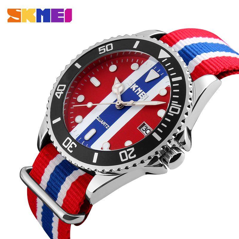 SKMEI Wristwatch Male Clock Quartz Watch Men Top Brand Luxury Famous Men's Wrist Watch Fabric Quartz-watch Relogio Masculino9133