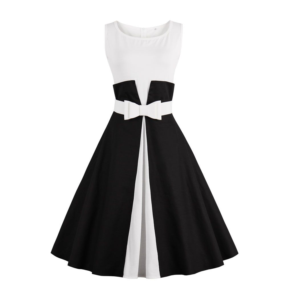 2017 nouvelle robe d'été sans manches patchwork style 1950 s Vintage robe noir blanc femmes robe de soirée Feminino Rockabilly Vestidos