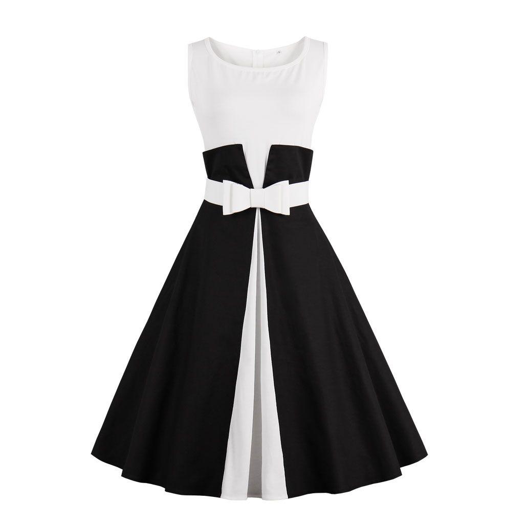 2017 Nouvelle Robe D'été Sans Manches patchwork style 1950 s Vintage Robe Noir Blanc Femmes Parti Robe Feminino Rockabilly Robes