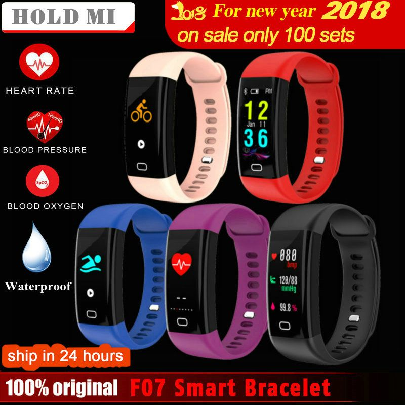 Hold Mi F07 Waterproof Smart Bracelet Heart Rate Monitor Blood Pressure Fitness Tracker Smart band Sport Watch for ios android