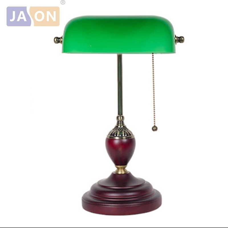 led e27 Chinese Vintage Green Glass Wooden LED Lamp LED Light .Table Lamp.Desk Lamp.LED Desk Lamp For Office Bedroom Study