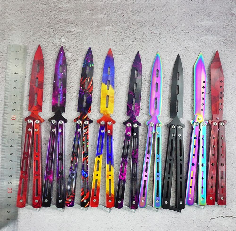 3 couleurs acier inoxydable couteau Formation Couteau titanium couteau Papillon dans couteau pour homme cadeau + sac + tournevis + épargné boulons