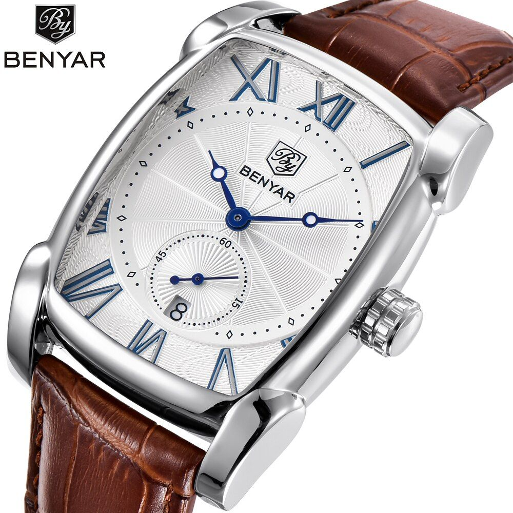 Top Luxury Brand BENYAR Leather Strap Men's Watches Sports Square Men Quartz watch Clock Military Wrsit Watch Relogio masculino