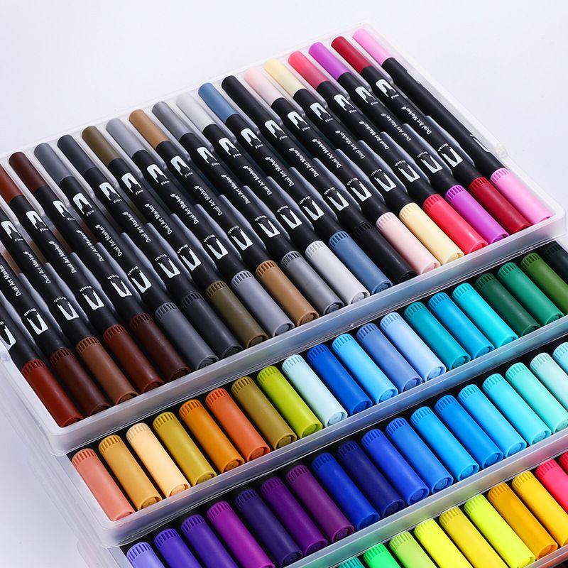 Mignon Art marqueurs stylos 12/18/24/36/48/60/72/100 Set coloré encre Gen Manga Anime aquarelle pointe stylo Graffiti peinture crayon