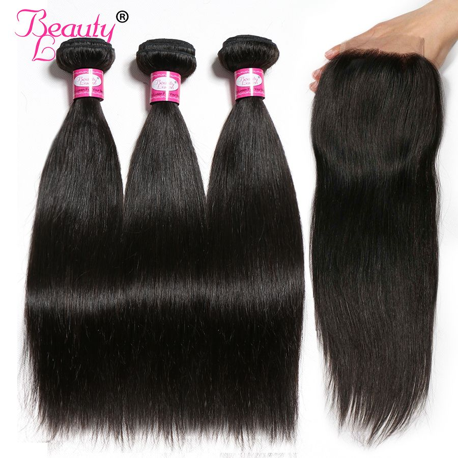 Brazilian Straight Hair Human Hair Bundles with Closure 3 Bundles With Closure Natural Color Remy Hair Extension Beauty Lueen