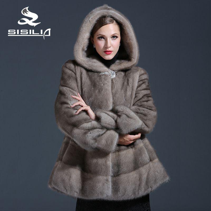 SISILIA 2017 Anpassbare frauen Winter Real Nerz Mantel Grau Farbe Nerz Mode Luxus Nerz Mantel Für weibliche