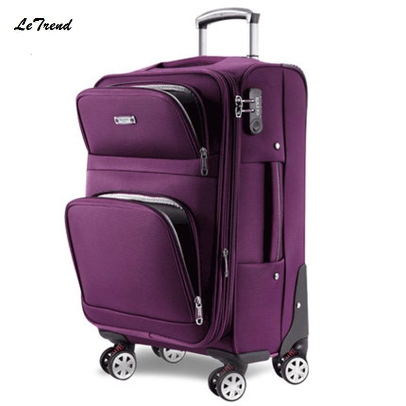 Letrend Men Rolling Luggage Spinner Travel Bag Suitcases Wheel Trolley Business Carry On luggage Women Password Trunk