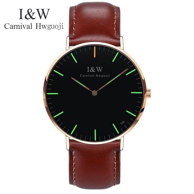 Fashion Men Ultrathin Business Quartz Watches Carnival I&W Tritium Light Luminous Mens Leather Clock Wristwatches Relojes Hombre