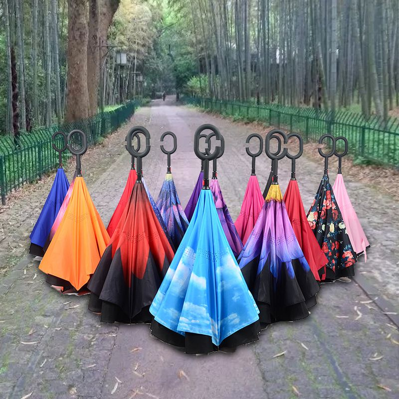 new creative c-handle type stand upright double car men women high quality upside down windproof double layer reverse umbrella