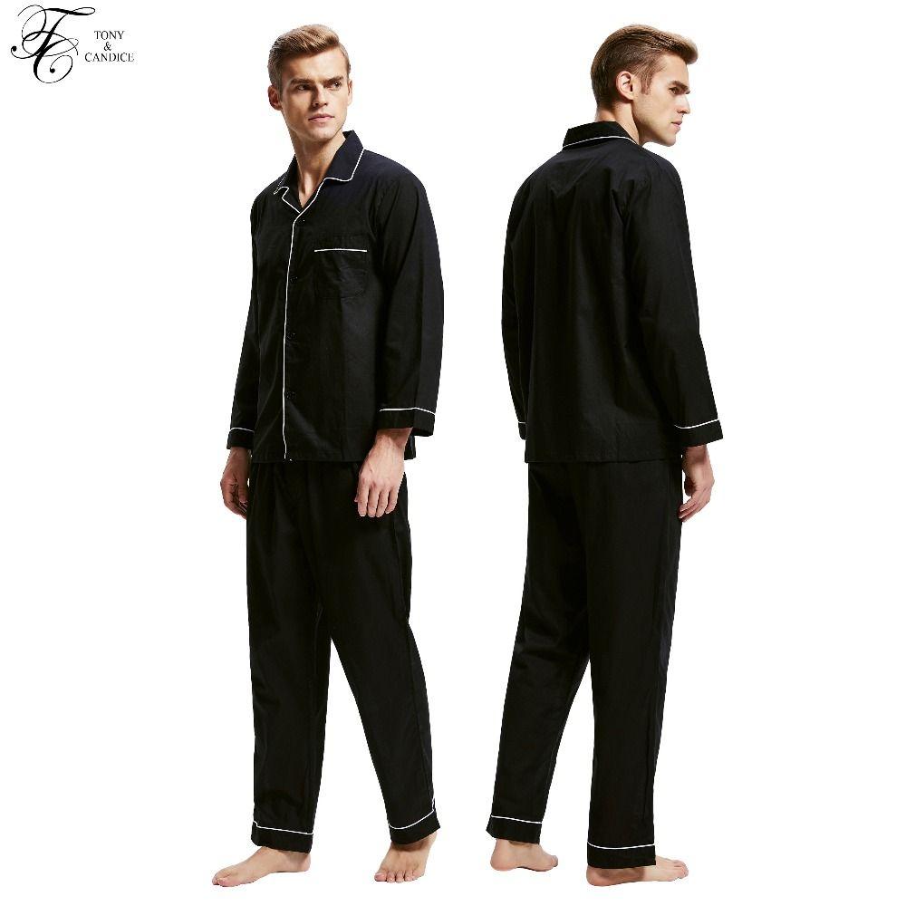 Tony & Candice Pyjamas Männer Nachtwäsche 100% Baumwolle herren Nachtwäsche Langarm Schlaf Lounge Beiläufigen Männlichen Nachthemd Weiche Pyjama Set