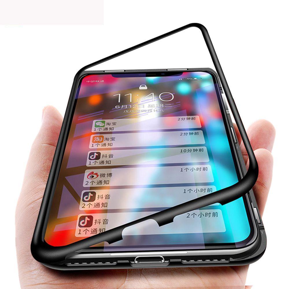 Magnétique Adsorption Boîtier Métallique Pour iPhone XS Max XS XR Hybride Cadre En Aluminium + Clair En Verre Trempé Couverture Arrière Pour iPhone XS XR