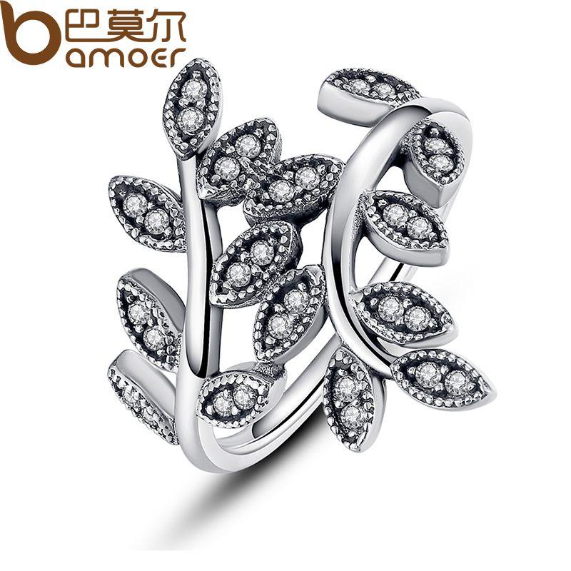 Bamoer plata esterlina 925 brillantes hojas de plata anillo con zirconia cúbico para las mujeres joyería original PA7114