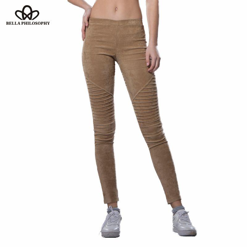 Bella Philosophy 2019 Winter faux suede leggings fold high waist retro elastic stretchy slim women pencil pants plus size