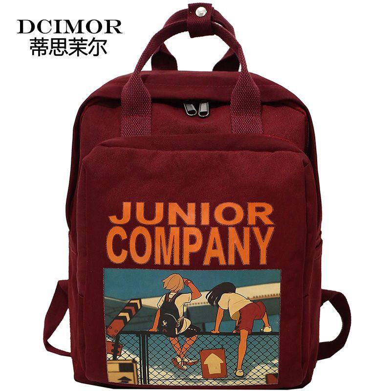 DCIMOR femmes sac à dos rétro bande dessinée impression Nylon étanche sacs à bandoulière école sacs à dos pour adolescente un anneau sac à dos