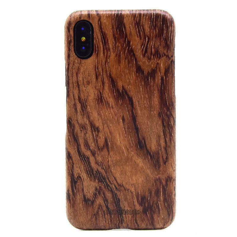 Showkoo Date Naturel Bois Pour iPhone X Housse De Protection pare-chocs avec Réel Mince Mince En Bois Couverture Pour iPhone X cas