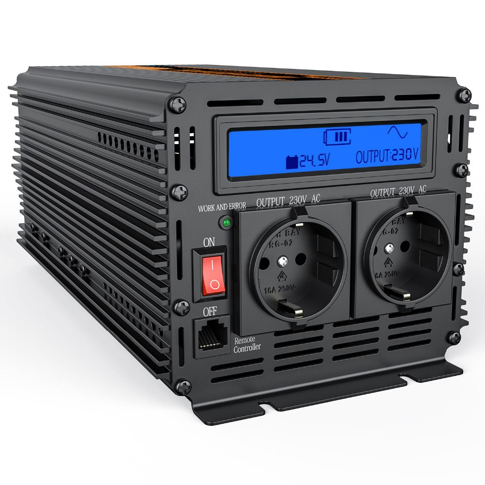 DC 24V to AC 220V 2000w power inverter with LCD display modified sine wave outdoor converter