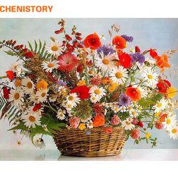 Chenistory бескаркасные яркие цветы DIY Краска ing по номерам ручная краска ed масло Рисование Акриловая Краска на холсте для домашнего декора 40x50