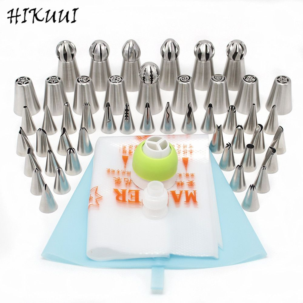 48pcs/set Russian Pastry Nozzles Bobby Skirt Icing Piping Tips Set Stainless Steel Kitchen Baking Cake Decorating Tools
