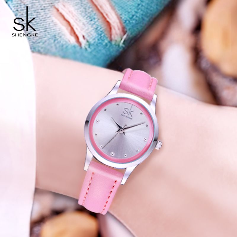 Shengke Ladies Watches Small Round Dial Quartz Watch Women Fashion Leather Watches <font><b>Montre</b></font> Femme SK 2018 Relogios Feminino #K0008