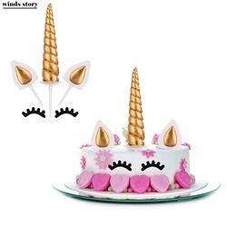 Unicornio Cake Toppers Unicornio cuerno orejas tortas Cupcake Toppers fiesta de cumpleaños decoraciones para hornear herramientas
