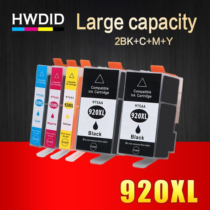 HWDID 5Pack 920XL Compatible Ink Cartridge Replacement For HP 920 XL For Officejet 6000 6500 6500 6500A 7000 7500 7500A printers
