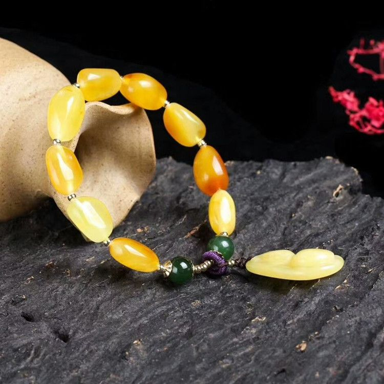 Raw ore natural beeswax bracelet single circle green jasper 14K gold beads accessories fashion amber jewelry