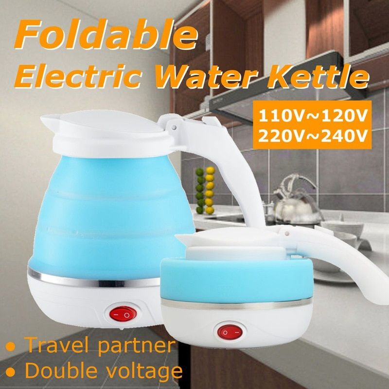 0.75L EU prise bouilloire électrique Silicone pliable Portable voyage Camping eau chaudière tension réglable appareils électriques ménagers