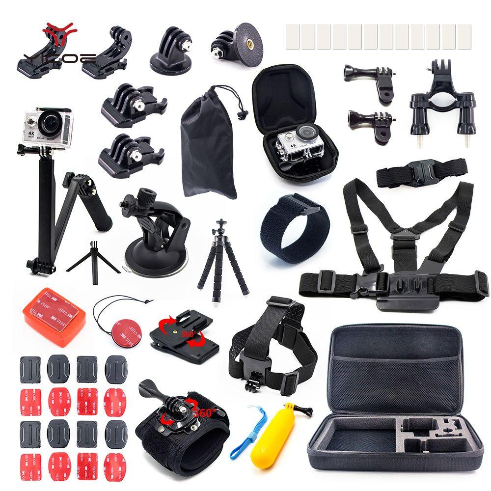 Cas Trépied Bâton Adaptateur pour Go Pro hero 6 5 Gopro 6 5 4 3 Session SJCAM Xiaomi yi 4 k Action Sport Caméra Accessoires Kit
