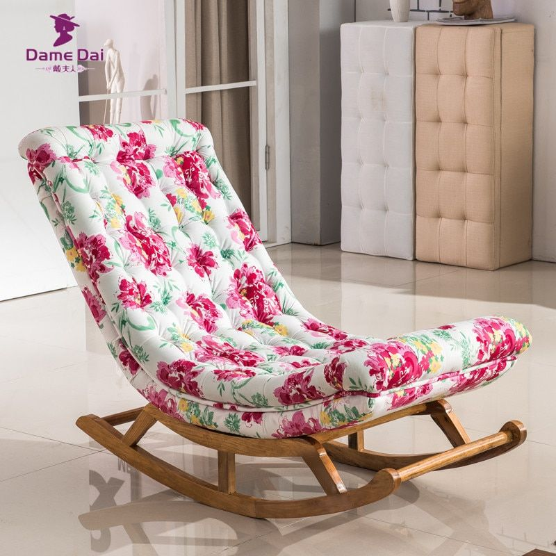 Vintage Rocking Chair Fabric Upholstery Classical Luxury French Style Furniture Living Room Vintage Adult Relax Rocking Chair