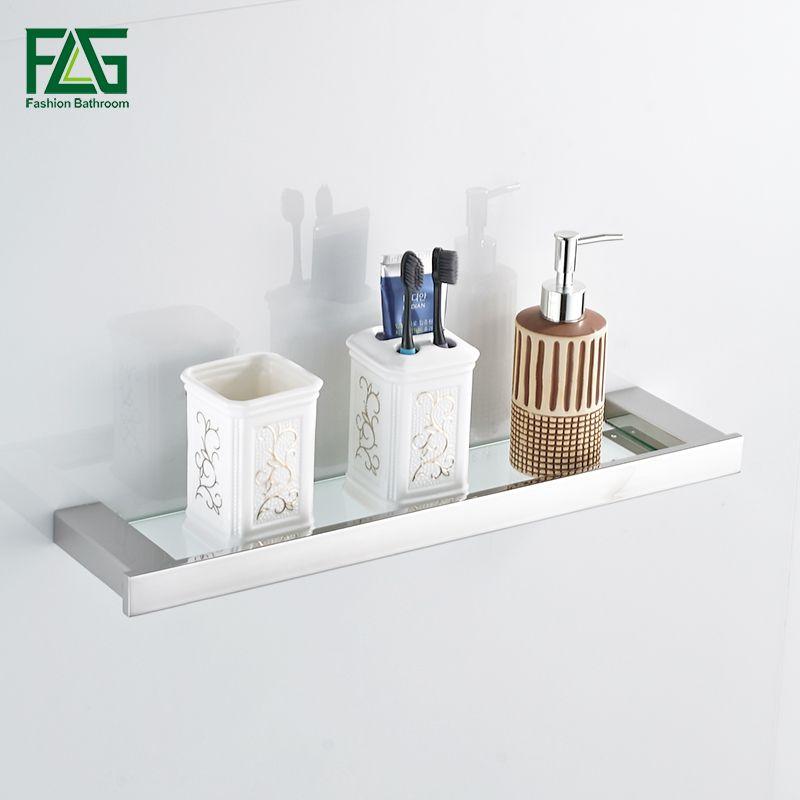 FLG Brushed Nickel Single Tier Bath Shelf With Glass 304 Stainless Steel Wall Mounted Bathroom Shelf Bathroom Rack Accessories