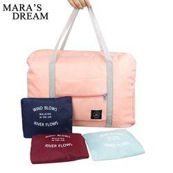 Sueño de Mara 2018 alta calidad plegable bolsa de viaje nylon Bolsas de viaje equipaje de mano para hombres y mujeres nueva moda duffle bolsa de viaje