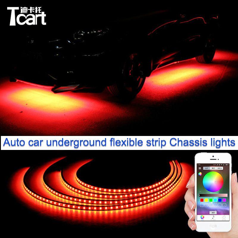 Tcart App control 90/120cm Car RGB LED Strip LED Under Car Glow Underbody System Neon Light waterproof auto car styling