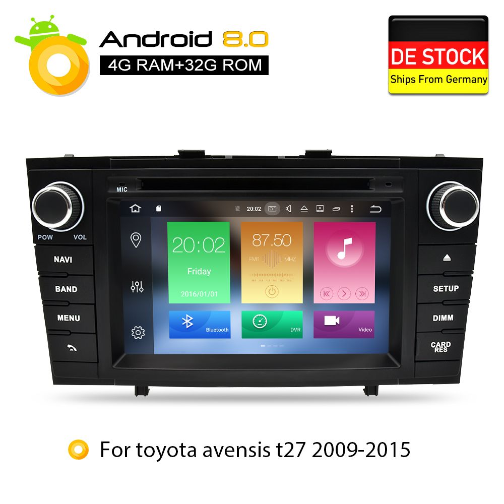 Android 8.0 Car DVD Stereo Multimedia Headunit For Toyota T27 Avensis 2009-2014 Auto PC Radio GPS Navigation Video Audio 4G RAM