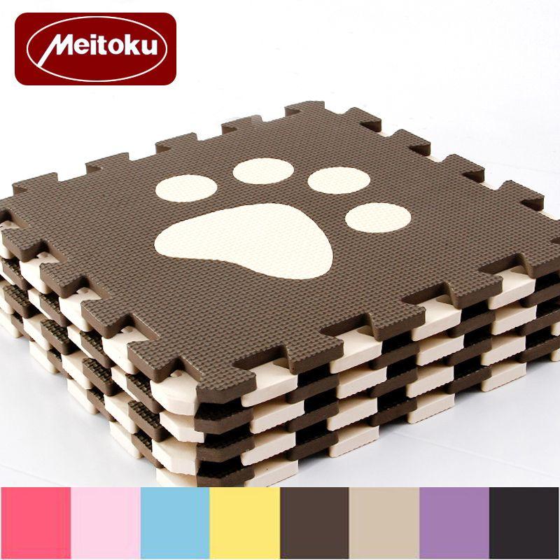 Meitoku 10 pc/ensemble Bébé EVA De Jeu En Mousse tapis de puzzle, Verrouillé ramper Carreaux et Tapis, livraison Tapis magique Chaque Pièce 32x32 cm D'épaisseur 1 cm