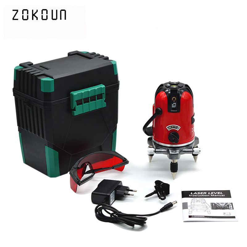 EU plug red 5 lines 6 points self-leveling 360 rotary cross line laser level tilt slash and <font><b>detector</b></font> outdoor mode available