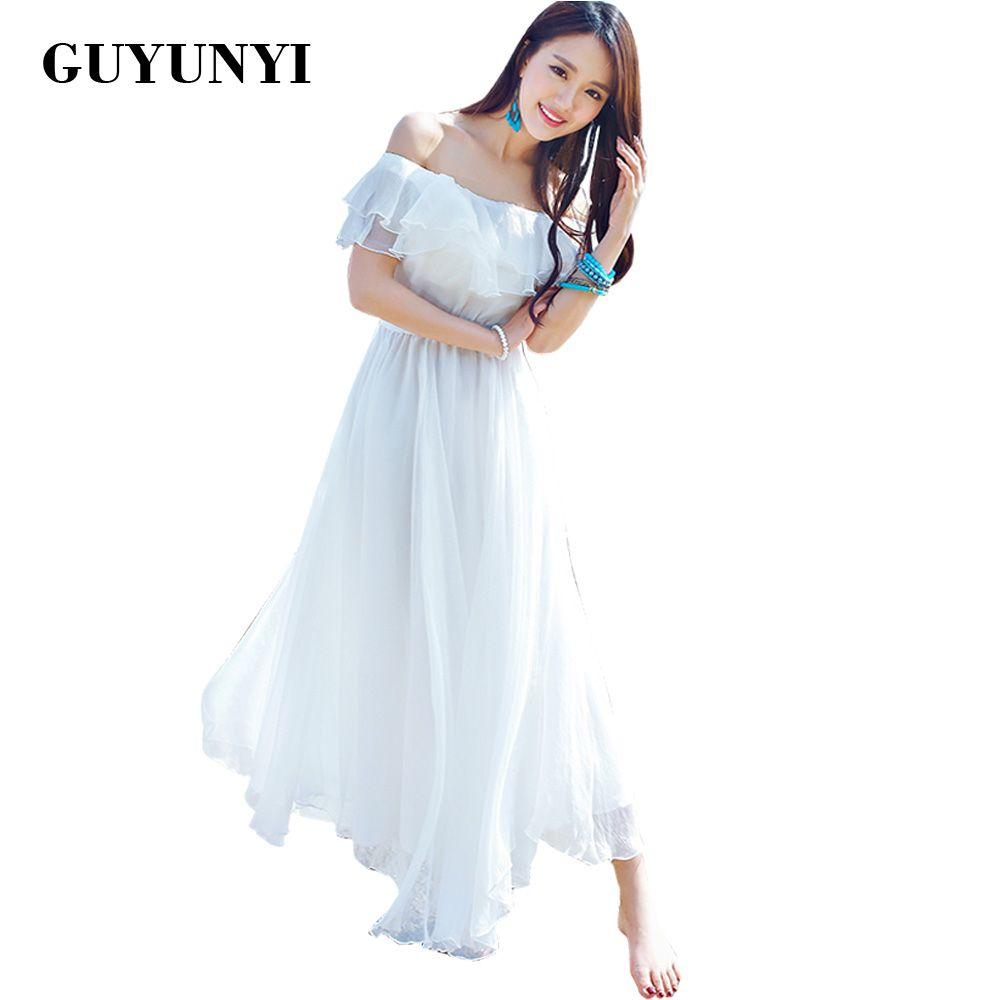 GUYUNYI Boho style longue robe femmes Off épaule plage robes d'été sans bretelles en mousseline de soie blanc maxi robe robes de festa CX585