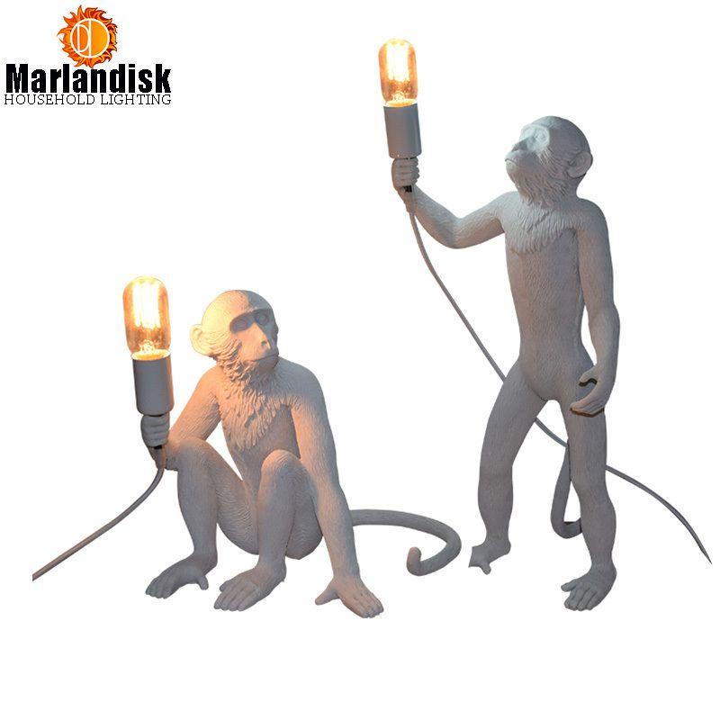 Modern Creative Art Monkey Table Lamps Loft Style Handmade Resin Monkey Bedside Table Lights For Home Room Bedroom Study(TJ-52)