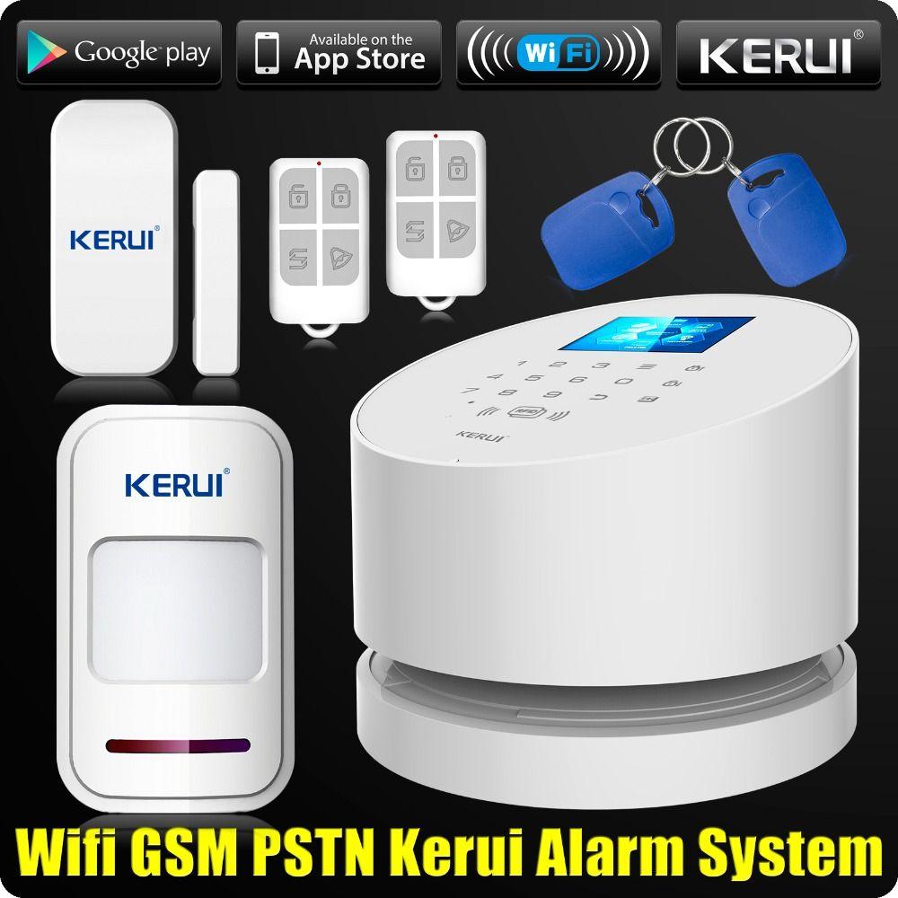En gros KERUI W2 Wifi GSM PSTN Téléphone Fixe Alarme À La Maison APP ISO 433 MHz TFT Écran Golor RFID Désarmer Bras de Sécurité Kit